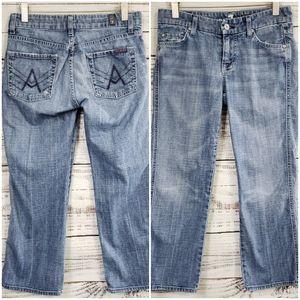 """7FAM crop """"A"""" Pocket light wash low rise 26"""